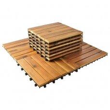 10 medinių plytelių 30x30cm balkono rinkinys