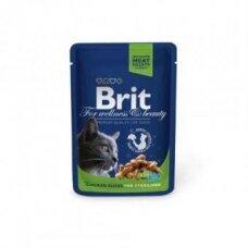 Konservai katėms BRIT PREMIUM Chicken Slices Sterilised, maišelyje, 100 g