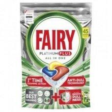 Automatinių indaplovių kapsulės FAIRY All in 1 Platinum Plus Lemon, 45 vnt.