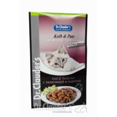 DR. CLAUDER'S drėgnas maistas katėms su veršiena ir kalakutiena drebučiuose