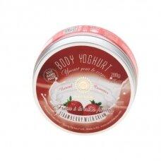 """Drėkinamasis kūno jogurtas """"Strawberries with cream""""  Saules Fabrika, 200 g"""