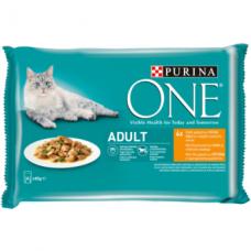Ėdalas katėms ONE Adult, su vištiena šparaginių pupelių padaže, 4 x 85 g.