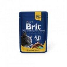 Konservai katėms BRIT PREMIUM Chicken&Turkey, maišelyje, 100 g