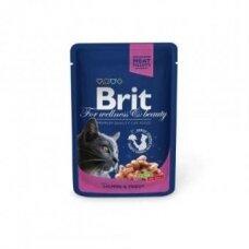 Konservai katėms BRIT PREMIUM Salmon&Trout, maišelyje, 100 g
