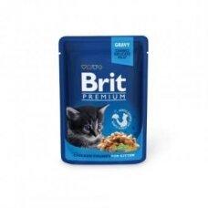 Konservuotas kačių ėdalas BRIT PREMIUM, Chicken Chunks, Kitten, 100 g