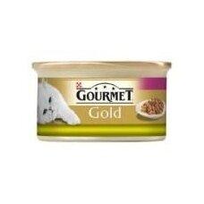 Konservuotas kačių ėdalas GOURMET Gold Duo, su triušiena ir kepenim, 85 g
