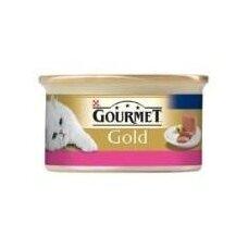 Konservuotas kačių ėdalas GOURMET Gold, su jautiena, paštetas, 85 g
