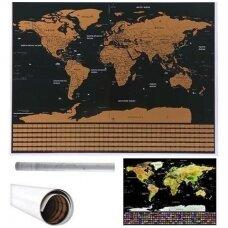 Nutrinamas pasaulio žemėlapis su vėliavomis 82x59cm.
