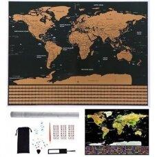 Nutrinamas pasaulio žemėlapis su vėliavomis 82x59cm. (su priedais)