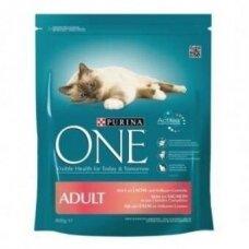 Sausas ėdalas katėms ONE Adult, su lašiša ir ryžiais, 800 g