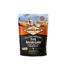 Sausas ėdalas šunims CARNILOVE Fresh Ostrich and Lamb for small breed, 1,5 kg