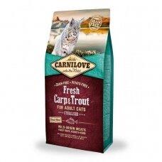 Sausas kačių ėdalas CARNILOVE, Carp and Trout Sterilised for Adult, 2 kg