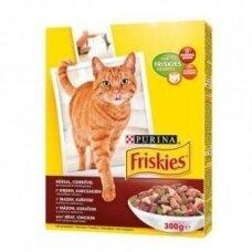 Sausas kačių ėdalas FRISKIES, su jautiena, vištiena, daržovėmis, 1 kg