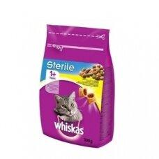 Sausas kačių ėdalas WHISKAS Sterile, su vištiena ir daržovėm, 300 g