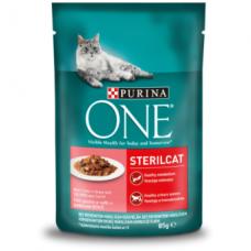 Šlapias ėdalas katėms ONE, sterilizuotoms, su lašiša padaže, 85g